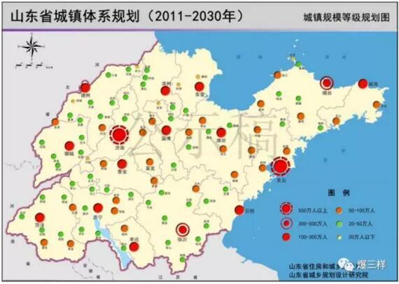 城镇规模等级规划图 到2030年,城区人口500-1000万的特大城市有济南、青岛;300-500万的I型大城市有淄博、烟台、临沂;100-300万的II型大城市有枣庄、东营、潍坊、济宁、泰安、威海、日照、德州、聊城、滨州、菏泽;50-100万人的中等城市26个,50万人以下的小城市58个;10万人以上的建制镇20个左右,5-10万人的建制镇60个。